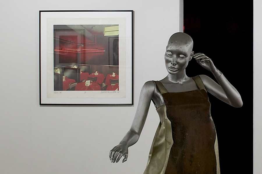 Backroom Lithography by Richard Bernstein and dress by Tiger Morse