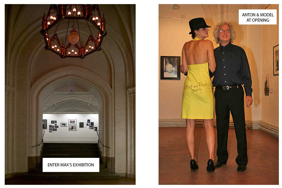 The Entrace to the Exhibition and Anton Perich signing the Banana Dress