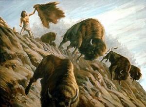gerald Lazare -buffalo-hunt-over-cliff